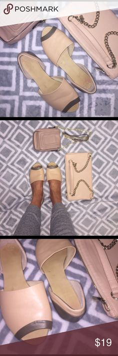 STEVEN by Steve Madden D'orsay Peep Toe Flats Beige and tan STEVEN by Steve Madden d'orsay peep toe flats. Tan wit taupe piping. Style P-Antin. Leather. Size 8.5 which is normally my size but as you can see in the pic my toes barely show. I would say they fit more like a 9. They are wide as well. Purses not included but shown for styling ideas. The small purse is up for sale in my closet as well and I offer a 10% discount for bundles!  🚨 Steven by Steve Madden Shoes Flats & Loafers