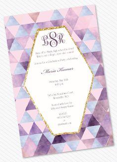 Watercolor Kaleidoscope Graduation Invitation by Little Lamb Designs #geometric #purple #gold #glitter #modern #watercolor