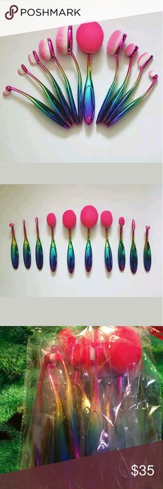 10 peice rainbow oval brush set Brand new in packaging Rainbow handle  Pink & white bristles  Perfect addition to any make-up lovers collection Would look adorable on any vanity  Material: Nylon + Synthetic Fibre  Price is firm on these Makeup Brushes & Tools