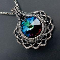 Fine Silver Pendant, Swarovski Crystal Pendant - Ruffles and Lace. $73.00, via Etsy.