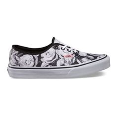 Vans Digi Roses Authentic ($55) ❤ liked on Polyvore featuring shoes, sneakers, vans, laced shoes, floral printed shoes, rose shoes, floral shoes y lace up shoes