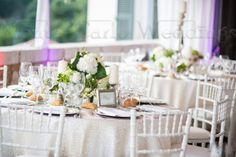 Change from the basic linen from your caterer and get a shimmery look which will change everything!!  Wedding by Monte-Carlo Weddings
