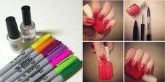 ง่ายจัง ใช้ปากกา Sharpie เพ้นท์เล็บสีแดงเขียนคำว่า LOVE