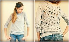 DIY: Basket Weaving the Back of an Old T-shirt or sweater | Trash To Couture