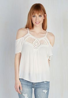 Unique Mystique Top. Maybe its the way you move that makes you so alluring, or maybe its this white top! #white #modcloth