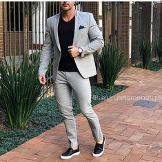Sneakers men fashion - Grey Smart Casual Street Men Suit for Wedding Suit Men Blazer Coat Jacket Party Prom Slim Fit Tuxedo Suit with Pants Custom Made Blazer Outfits Men, Mens Fashion Blazer, Suit Fashion, Fashion Outfits, Men Blazer, Fashion Shirts, Fashion Ideas, Fashion Styles, Mens Fashion Wear