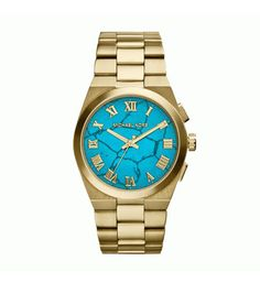 Michael Kors Channing Turquoise Dial Gold Bracelet - - The Watches Men & Co - 1 Michael Kors Jewelry, Michael Kors Outlet, Michael Kors Gold, Handbags Michael Kors, Michael Kors Watch, Stainless Steel Watch, Stainless Steel Bracelet, Mk Watch, Hand Watch