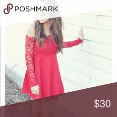 Shop Hope's Adore me in lace dress: Red GREAT condition. Only worn twice for Christmas. This is the perfect dress for the holidays! Purchased from ShopHopes! This dress is a steal. Price is open to negotiation! Dresses