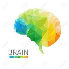 Creative concept of the human brain consists of colorful polygons, vector Stock Vector - 32812664 Vector Stock, Vector Art, Neural Connections, B Rain, Ideas Para, Character Art, Vectors, Medicine, Commercial