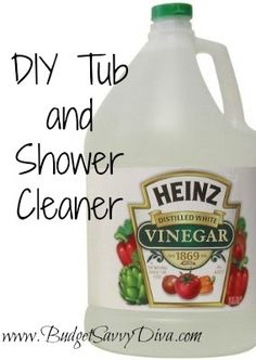 I use 1 cup of vinegar and 1/2 cup of Dawn dishwashing liquid.  Heat vinegar to almost a boil.  Pour into a squirt bottle (empty dishwashing bottle) add Dawn and gentle mix without the lid on.  Apply to shower/tub.   I usually let it sit for a few minutes then wipe and rinse.  You will no believe how much soap scum was there.  Your shower will look brand new, even the glass doors!