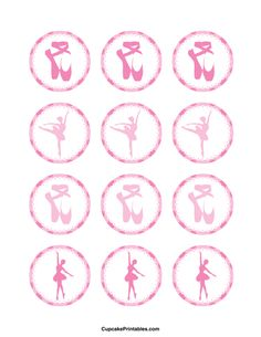 Ballerina cupcake toppers. Use the circles for cupcakes, party favor tags, and more. Free printable PDF download at http://cupcakeprintables.com/toppers/ballerina-cupcake-toppers/