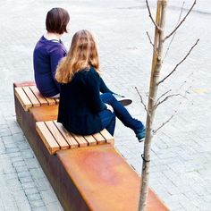 STREETLIFE Solid Seat Strips. Using With the CorTen Seat Strips in combination with the Solid Hardwood Seatings, it is possible to install a long CorTen (weathering steel) strip. Several functions, such as bench, waste bin, bicycle parking and greenery, can be incorporated in a single strip-shaped element