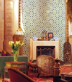 moroccan style wall decoration with moroccan tiles for modern living room design