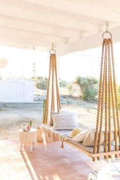 85 Relaxing Farmhouse Porch Swing Ideas - Home Decor Ideas Farmhouse Porch Swings, Front Porch Swings, Front Porch Seating, Ikea Outdoor, Outdoor Seating, Outdoor Patio Swing, Indoor Swing, Indoor Outdoor, Outdoor Living