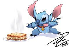 Lasagna for Stitch by Robaato on deviantART Lilo And Stitch, Disney Stitch, Disney Wallpaper, Cartoon Drawings, Disney Movies, Sonic The Hedgehog, Nerd, Geek Stuff, Deviantart