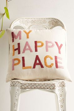 Magical Thinking My Happy Place Embroidered Pillow - Urban Outfitters