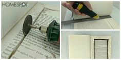 Tutorial for how to make a DIY hollowed out book- here cutting out the book center. Clever hiding spot!