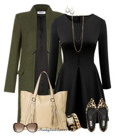 """Black Dress With Leopard Flats"" by honkytonkdancer ❤ liked on Polyvore"
