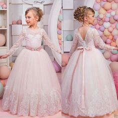 Lace Communion Party Prom Princess Pageant Bridesmaid Wedding Flower Girl Dress