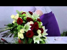 How to make a Gorgeous Lilies & Roses Bouquet - YouTube