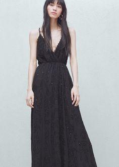 Long beaded dress | MANGO