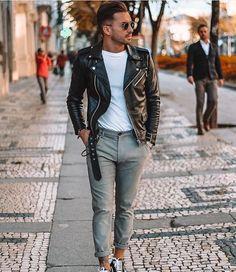 New Handmade Men's Genuine Black Fashionable Biker Jacket, Stylish Motorcycle Jacket Fall Fashion Outfits, Autumn Fashion, Mens Fashion, Fashion Tips, Fashion Ideas, Fashion Night, Leather Fashion, Street Fashion, Look Man
