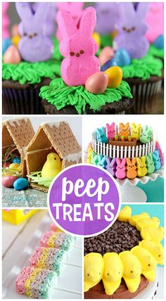 Fun Easter Treats Made with Marshmallow Peeps - Crafty Morning Fun Easter Treats Made with Marshmallow Peeps - Crafty Morning Easter Bunny Cupcakes, Easter Peeps, Easter Party, Easter Treats, Easter Table, Marshmallow Peeps, Easter Colors, Easter Recipes, Holiday Treats