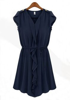Dark Blue Falbala Belt V-neck Lotus Sleeve Chiffon Dress