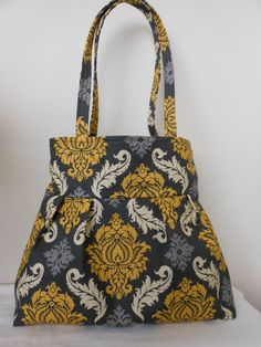 Pleated Hobo Shoulder Everyday Bag  Damask Granite by Joanna1966,