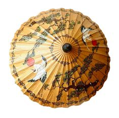 Vintage/Antique Japanese Paper and Bamboo Parasol, Traditional Japan Red Sun, Herons, Windswept Evergreen Hand Painted Decorative Umbrella