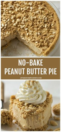 A creamy, rich recipe for no-bake peanut butter pie with a nutter butter crust. This easy, fool-proof pie is made from scratch and perfect for any time of the year! #nobakepeanutbutterpie #peanutbutterpie #nobakepie #peanutbutter #pie