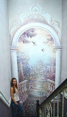Роспись барельефа на стене Murals Street Art, Mural Art, Wall Murials, Wall Art, Plaster Art, Waterfall Fountain, Stencil Painting, Ceiling Design, Cool Walls