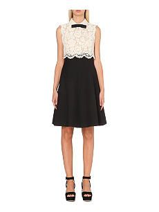 VALENTINO Lace-bodice wool and silk-blend dress