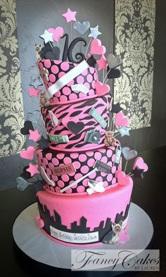 Very Sweet 16 - super cool cake for 16th birthday.  http://fancycakesblog.com