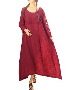 Hot-sale Vintage Plus Size Solid Ruffled O-Neck Long Sleeve Maxi Dress For Women - NewChic