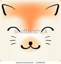 Cute cartoon cat face, vector background for a card by Natalyon, via ShutterStock