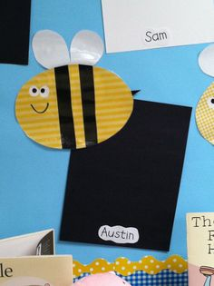 """Super cute way to hang work!  """"Check out our Bee-autiful work!"""""""