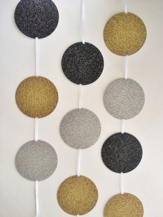 Glitter Circle Garland 6 ft  Gold Silver & by SilverlakeSisters, $9.95