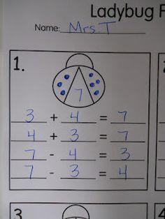 T's First Grade Class: Ladybugs Fact Families Teaching Activities, Math Resources, Student Teaching, Teaching Ideas, Math School, School Fun, School Stuff, School Ideas, Math Classroom