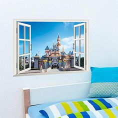 FairyTeller Princess Castle Windows Wall Stickers Kids Room Decor X005. Diy Girls Home Decals Cartoon Mural Cover Art Posters 5.0 ** Read more reviews of the product by visiting the link on the image. (This is an affiliate link) #WallStickersMurals