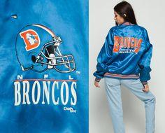 NFL Jacket DENVER BRONCOS Varsity Satin Jacket 80s by ShopExile