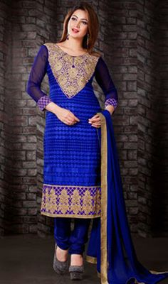 Blue Georgette Embroidered Churidar Dress Price: Usa Dollar $84, British UK Pound £50, Euro62, Canada CA$91 , Indian Rs4536.