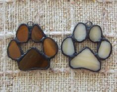 Paw print stained glass ornaments or wedding favor door Faithlady