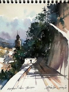 Etruscan Wall - Perugia, Italy Thomas W Schaller Plein-Air Watercolor Sketch inches - 03 May 2018 Kids Watercolor, Watercolor Landscape Paintings, Watercolor Artists, Watercolor Sketch, Watercolour Painting, Watercolors, Art Thomas, Illustration Art Drawing, Rustic Art