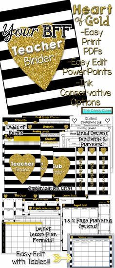 Your new best friend! Very functional with editable tables to make use easy! Blinged out with gold because after all teachers have a heart of gold! $