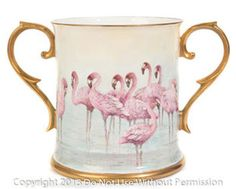 Flamingo Tankard Two handled Loving Cup featuring Pink flamingoes in a watery scene, hand gilded in 22ct gold.