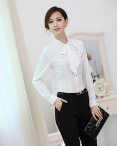 Spring Autumn Formal White Shirts Women Tops and Blouse Ladies ...