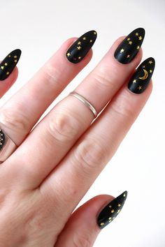 moon and stars nail tattoos / gold nail decals / nail art / bohemian nails / gold star decals / festival nail decals / nail wraps / gold - - nails stars Nagellack Design, Nagellack Trends, Bohemian Nails, Moon Nails, Star Nails, Star Nail Art, How To Nail Art, Tribal Tattoos, Nail Tattoos