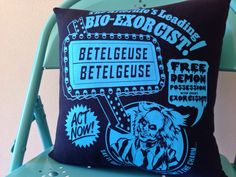 Beetlejuice Throw Pillow by TheSaraInitiative on Etsy https://www.etsy.com/listing/192951561/beetlejuice-throw-pillow