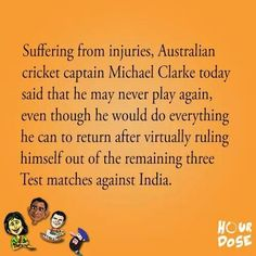 Michael Clarke says he may never play again. Stay strong. #MichaelClarke #Australia